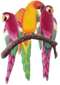 "Parrot Wall Hanging - Hand Painted Metal - Tropical Home Decor - 24"" x 16"""