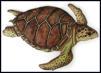 "Loggerhead Turtle Wall Art - Decorative Painted Metal - Outdoor Garden & Patio Decor - 18"" x 24"""