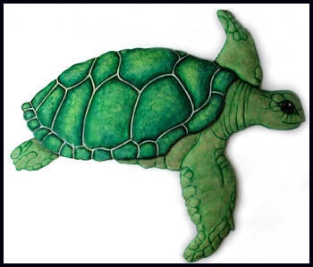 "Hand Painted Metal Art Green Sea Turtle Wall Decor - Tropical Home Decor - 20"" x 23"""