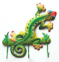 "Gecko Wall Hook -Painted Metal Towel Hook - Tropical Home Decor - Garden Art - 9"" x 10"""