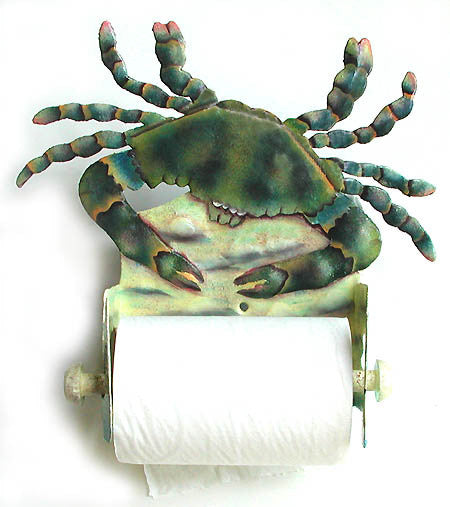 Toilet Paper Holder - Blue Crab Decorative Toilet Tissue Holder - Hand Painted Metal Bathroom Decor