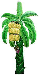 "Painted Metal Banana Tree Tropical Wall Hanging - Handcrafted - 20"" x 38"""