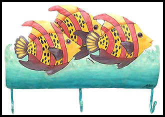 "Pink & Yellow Tropical Fish Wall Hook - Hand Painted Metal Towel Hook - Tropical Decor - 10"" x 15"""