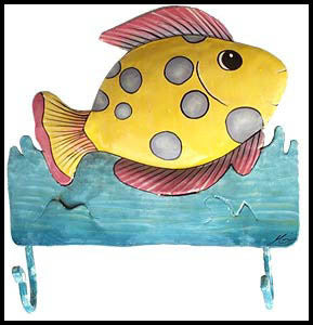 "Pink & Yellow Tropical Fish Metal Wall Hook - Hand Painted Metal Bathroom Design - 9"" x 10"""
