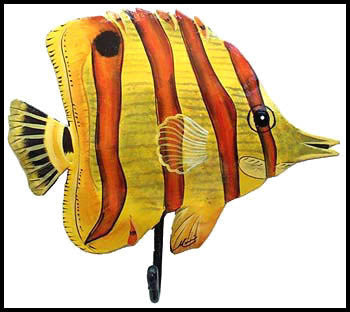 "Hand Painted Metal Yellow Tropical Fish Wall Hook - Handcrafted Metal Art Wall Decor - 9"" x 7"""
