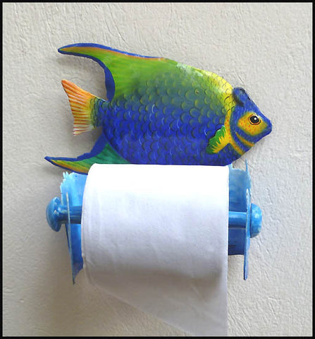 Toilet Paper Holder - Painted Metal Tropical Fish Tissue Holder - Bathroom Decor