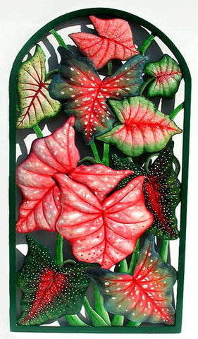 "Caladium Wall Panel - Hand Painted Metal Tropical Home Decor - 20"" x 36"""