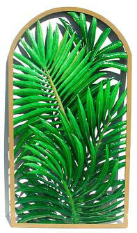 Palm Tree Tropical Wall Decor - Hand Painted Metal - Framed in Wrought Iron  - 20