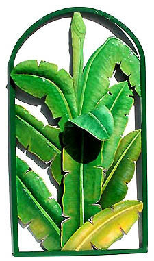 "Banana Wall Hanging - Hand Painted Metal - Framed in Wrought Iron - Tropical Home Decor - 20"" x 36"""