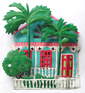 "Metal Wall Hanging - Tropical Gingerbread House - Painted Haitian Steel Drum Metal Art - 13"" x 14"""