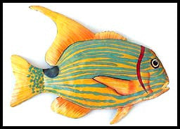 Tropical Fish Painted Metal Wall Hanging - Haitian Steel Drum Art - Metal Tropical Fish Decor