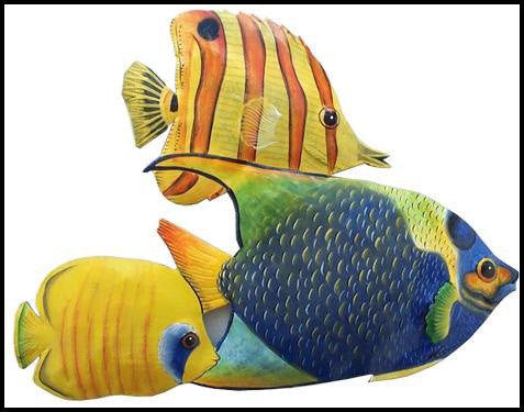 "Tropical Fish Wall Hanging - Hand Painted Metal Handcut from Recycled Steel Drums - 11"""" x 15"""""