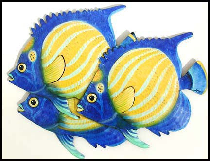 "Tropical Fish Wall Decor - Painted Metal Wall Hanging - Tropical Decor - 12"" x 16"""