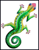 "Gecko Wall Hanging - Painted Metal Tropical Home Decor - Haitian Steel Drum Metal Art - 11"" x 18"""
