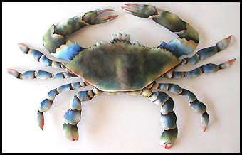 "Painted Metal Blue Crab Wall Decor, Garden Art, Coastal Decor, Haitian Steel Drum Design - 12"" x 19"""