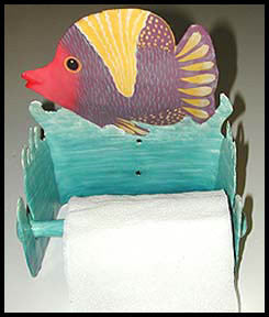 Bathroom Toilet Paper Holder, Painted Metal Art, Tropical Fish, Bathroom Decor, Haitian Metal Art