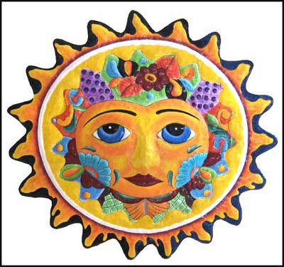 Sun Wall Decor - Hand Painted Yellow Sun Metal Wall Hanging - Eco-Friendly Art - 17""
