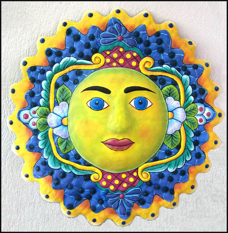 "Hand Painted Metal Sun Wall Decor - Metal Wall Decor - Haitian Art - 17"" x 17"""