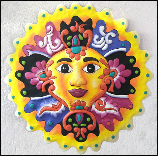 Sun Art - Painted Metal Sun Wall Hanging - Decorative Haitian Metal Design - 17""