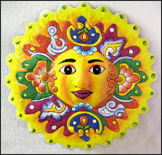 Sun Wall Hanging - Hand Painted Sun Wall Decor - Decorative Haitian Metal Art - 17""