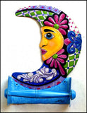 Toilet Paper Holder - Hand Painted Metal Bathroom Design - Decorative Moon