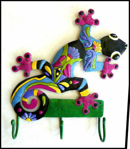 Gecko - Hand Painted Metal Wall Hook - Haitian Steel Drum Metal Art - 15""