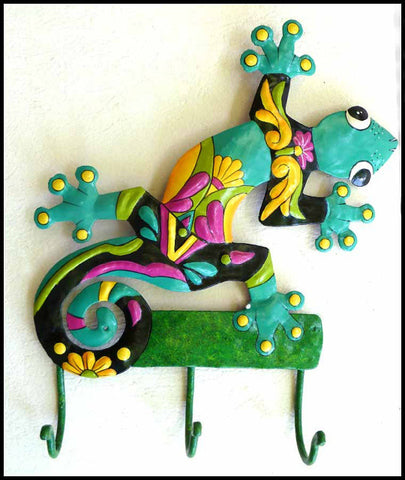 "Metal Wall Hook - Hand Painted Tropical Gecko Design -Decorative Home Decor - 12"" x 15"""
