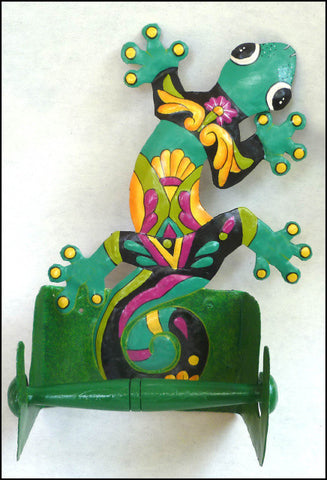 Gecko Toilet Paper Holder Painted Metal Tropical Design - Bathroom Tissue Holder
