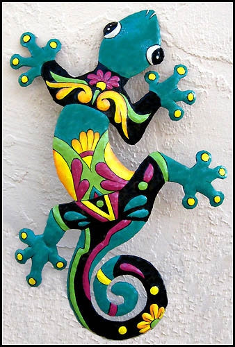 Gecko Wall Hanging, Painted Metal Garden Art, Tropical Design, Haitian Art, 24""