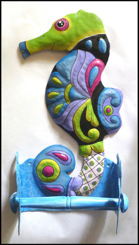 Seahorse Toilet Tissue Holder - Painted Metal Toilet Paper Holder - Bathroom Decor