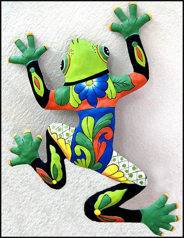 "Frog Wall Hanging - Hand Painted Metal Tropical Outdoor Decor - Haitian Steel Drum - 25"" x 34"""