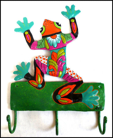 Painted Metal Frog Wall Hook - Tropical Design - Decorative Metal Towel Hook - Metal Hanger - 12""