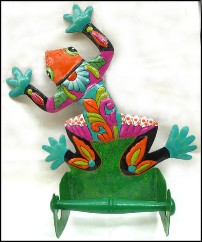 Toilet Tissue Holder - Painted Metal Frog - Tropical Bathroom Decor - Toilet Paper Holder