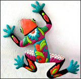 "Painted Metal Frog Wall Hanging -Handcrafted Outdoor Garden Art  -   25"" x 34"""