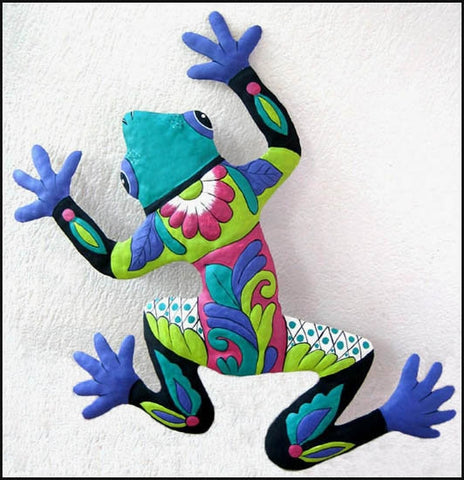 Frog Wall Decor, Painted Metal, Tropical Decor, Outdoor Wall Hanging, Garden Art - 17""