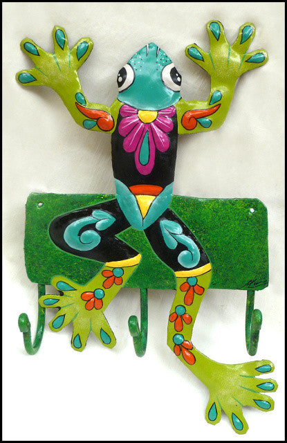 Painted Metal Wall Hook - Green Frog Wall Decor - Metal Hanger, Tropical Decor