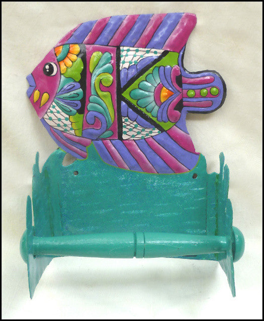 Toilet Paper Holder - Tropical Fish  - Toilet Tissue Holder - Bathroom D'cor - Hand Painted Metal