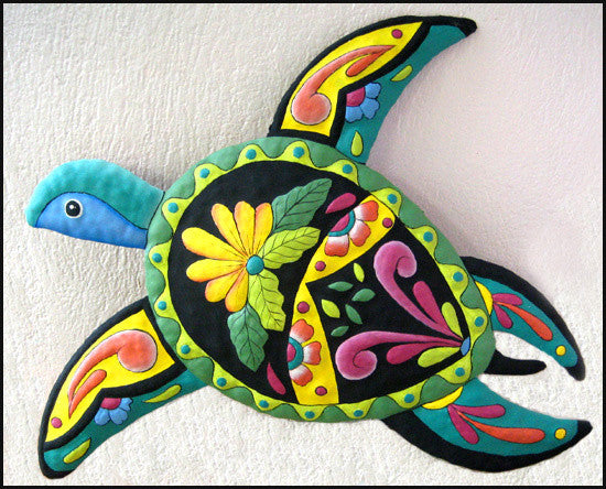 "Hand Painted Metal Turtle - Tropical Design Wall Hanging - 16"" x 21"""