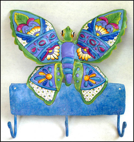 "Butterfly Wall Hook - Hand Painted Metal Towel Hook - Decorative Metal Hanger - 10"" x 11"""