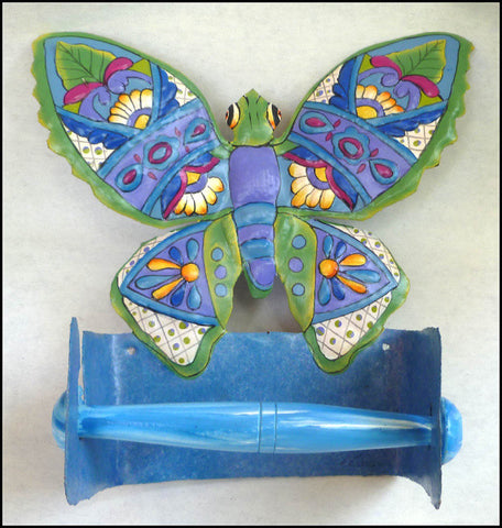 Toilet Paper Holder - Painted Metal Butterfly - Tropical Bathroom Design Bathroom Decor