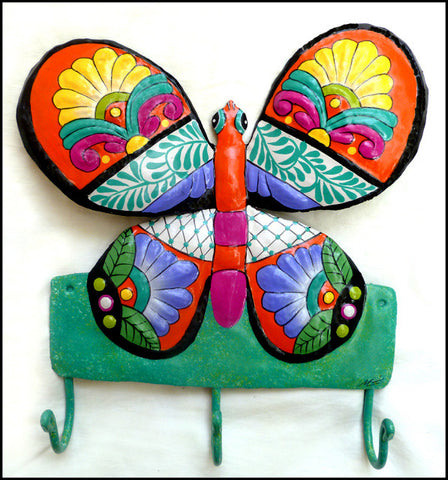 Butterfly Metal Towel Hook - Hand Painted Wall Hook - Bathroom Decor - Metal Hook