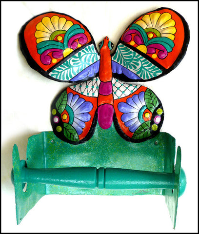 Toilet Tissue Holder - Painted Metal Bathroom Toilet Paper Holder  - Butterfly Design