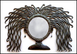 "Haitian Art,  Haitian Metal Mirror Wall Hanging, Unique Mirror, Woman's Face -  22"" x 34"""