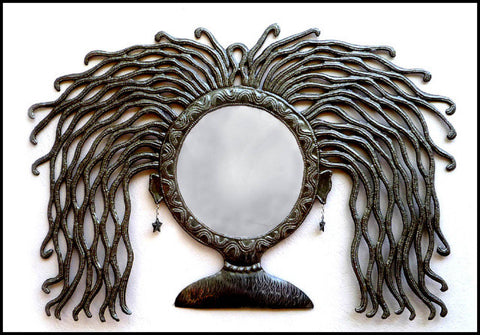 "Handcrafted Haitian Metal Mirror Wall Hanging - Unique Mirror, Woman's Face -  22"" x 34"""