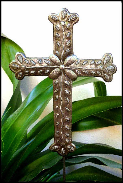 Metal Cross Plant Stake - Outdoor Garden Decor - Haitian Recycled Steel Drum - 12""