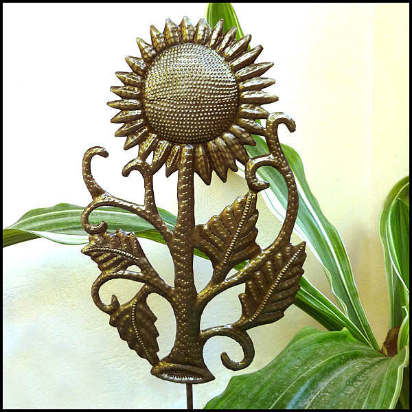 Metal Garden Plant Stick - Sunflower Garden Art - Haitian Steel Drum Art - 12""
