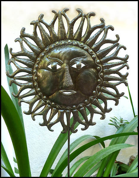 Metal Sun Garden Plant Stick - Garden Decor - Haitian Steel Oil Drum Art
