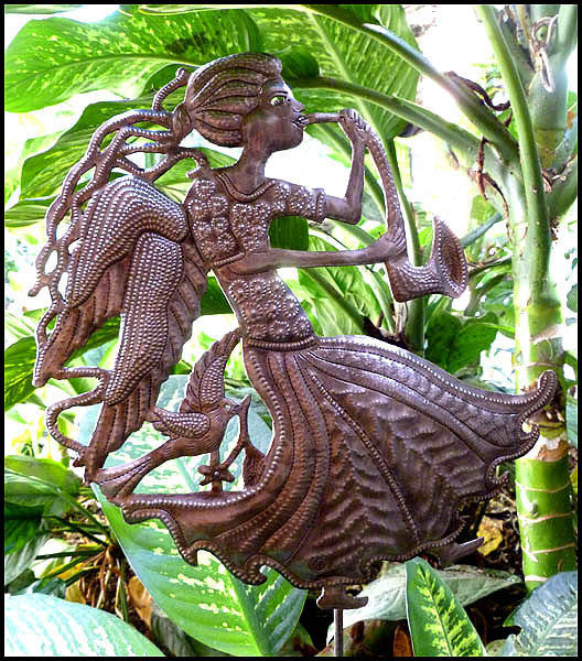 Metal Plant Stake, Angel Garden Art, Haitian Steel Drum, Metal Garden Decor - 10 1/2' x 13""