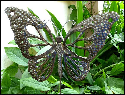 Butterfly Plant Marker Stake,  Metal Garden Decor,  Garden Art, Haitian Steel Drum Art -13""