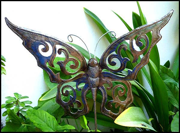 Butterfly Metal Garden Plant Stick - Haitian Steel Drum Art - Outdoor Garden Decor